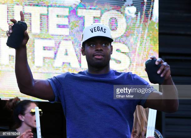 Malcolm Subban of the Vegas Golden Knights throws Tshirts to the crowd as he is introduced at the team's 'Stick Salute to Vegas and Our Fans' event...