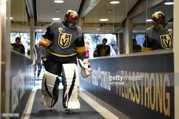Malcolm Subban of the Vegas Golden Knights walks down the tunnel prior to the game against the New York Rangers at TMobile Arena on January 7 2018 in...