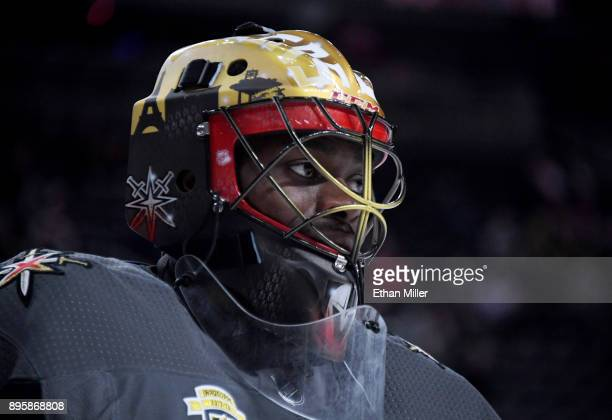 Malcolm Subban of the Vegas Golden Knights warms up before a game against the Tampa Bay Lightning at TMobile Arena on December 19 2017 in Las Vegas...