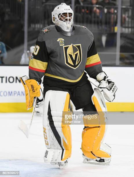 Malcolm Subban of the Vegas Golden Knights warms up before the team's game against the Buffalo Sabres at TMobile Arena on October 17 2017 in Las...