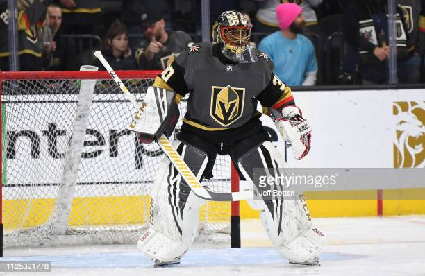 Malcolm Subban of the Vegas Golden Knights warms up prior to a game against the Nashville Predators at TMobile Arena on February 16 2019 in Las Vegas...