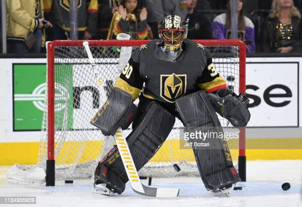 Malcolm Subban of the Vegas Golden Knights warms up prior to a game against the Arizona Coyotes at TMobile Arena on April 4 2019 in Las Vegas Nevada