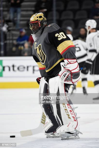 Malcolm Subban of the Vegas Golden Knights warms up prior to the game against the Los Angeles Kings during the game at TMobile Arena on November 19...