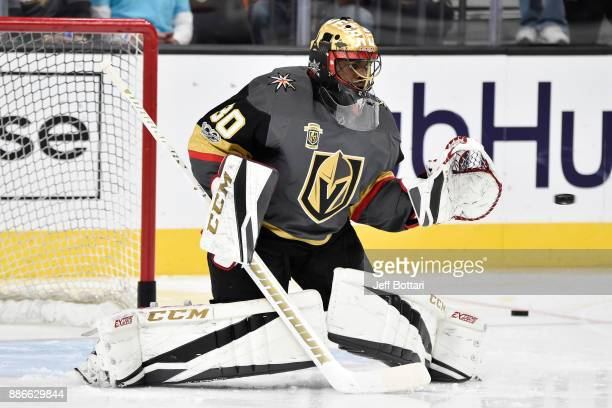 Malcolm Subban of the Vegas Golden Knights warms up prior to the game against the Anaheim Ducks at TMobile Arena on December 5 2017 in Las Vegas...