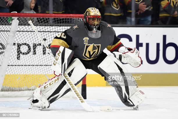 Malcolm Subban of the Vegas Golden Knights warms up prior to the game against the Nashville Predators at TMobile Arena on January 2 2018 in Las Vegas...