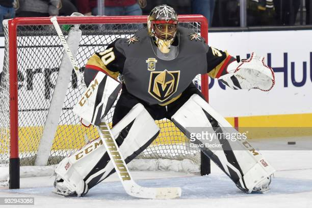 Malcolm Subban of the Vegas Golden Knights warms up prior to the game against the Minnesota Wild at TMobile Arena on March 16 2018 in Las Vegas Nevada