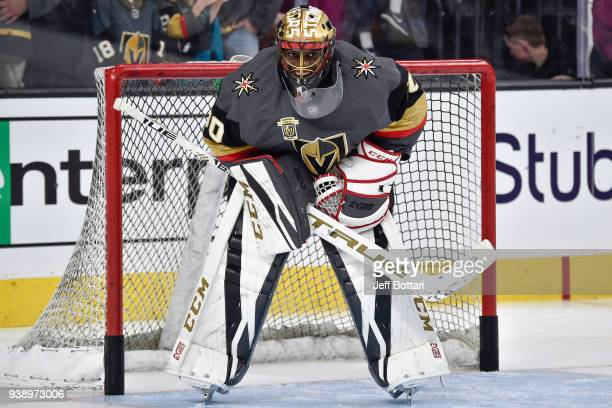 Malcolm Subban of the Vegas Golden Knights warms up prior to the game against the Colorado Avalanche at TMobile Arena on March 26 2018 in Las Vegas...