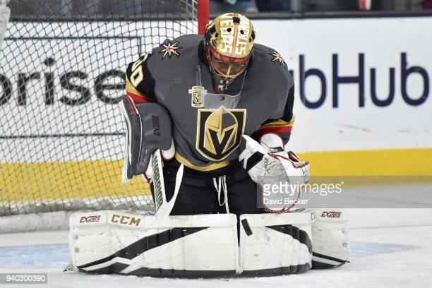 Malcolm Subban of the Vegas Golden Knights warms up prior to the game against the St Louis Blues at TMobile Arena on March 30 2018 in Las Vegas Nevada