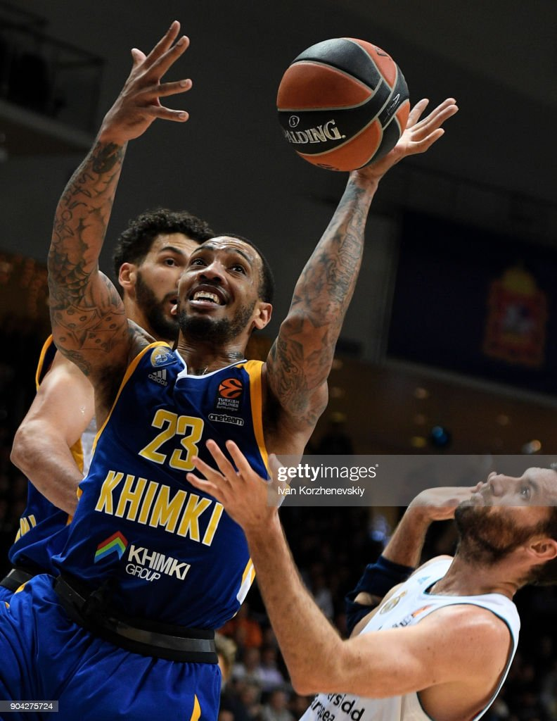 Malcolm Thomas, #23 of Khimki Moscow Region in action during the 2017/2018 Turkish Airlines EuroLeague Regular Season Round 17 game between Khimki Moscow Region and Real Madrid at Arena Mytishchi on January 12, 2018 in Moscow, Russia.