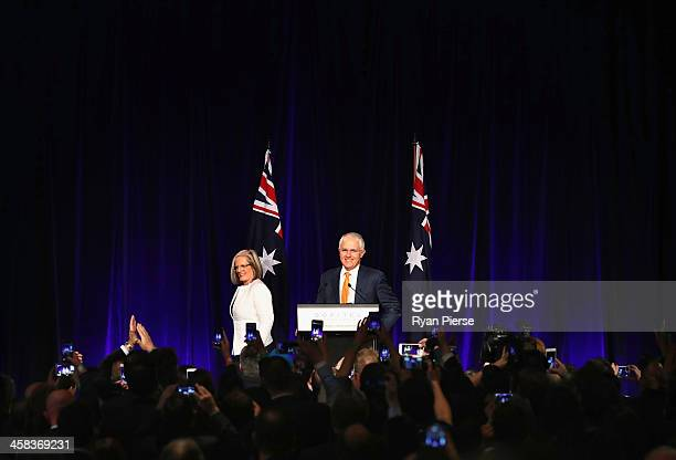 Malcolm Turnbull and wife Lucy Turnbull greet Liberal party supporters at Sofitel Wentworth on July 2 2016 in Sydney Australia With results too close...