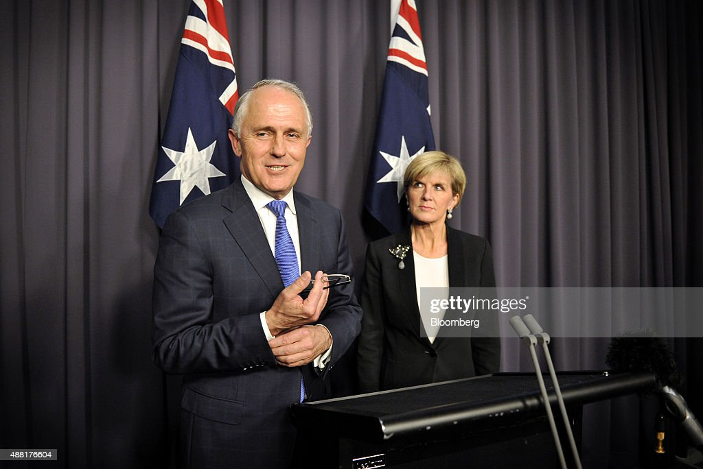 Malcolm Turnbull, Australia's incoming prime minister, left, speaks during a news conference alongside Julie Bishop, Australia's foreign minister, after winning a party leadership ballot in Canberra, Australia, on Monday, Sept. 14, 2015. Turnbull will become Australia's sixth prime minister in eight years after defeating Tony Abbott in a ballot of Liberal Party lawmakers on Monday. Photographer: Mark Graham/Bloomberg via Getty Images
