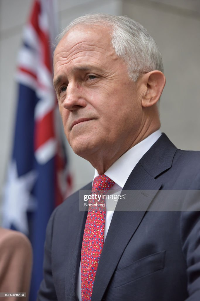 Malcolm Turnbull, Australia's prime minister and leader of the Liberal Party, listens during a news conference in Canberra, Australia, on Tuesday, Aug. 21, 2018. Turnbull survived a leadership vote on Tuesday but may be challenged again within days amid growing unease among party colleagues about the government's slumping poll ratings. Photographer: Mark Graham/Bloomberg via Getty Images