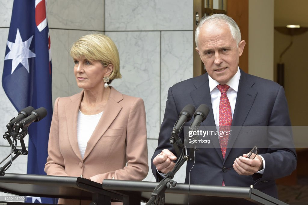 Malcolm Turnbull, Australia's prime minister and leader of the Liberal Party, right, speaks as Julie Bishop, Australia's foreign minister and deputy leader of the Liberal Party, looks on during a news conference in Canberra, Australia, on Tuesday, Aug. 21, 2018. Turnbull survived a leadership vote on Tuesday but may be challenged again within days amid growing unease among party colleagues about the government's slumping poll ratings. Photographer: Mark Graham/Bloomberg via Getty Images