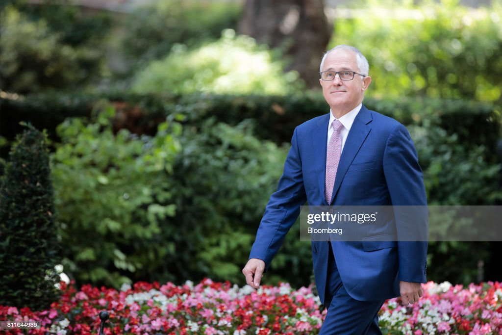 Malcolm Turnbull, Australia's prime minister, arrives to meet U.K. Prime Minister Theresa May in Downing Street in London, U.K., on Monday, July 10, 2017. May came under fire from her own party over the weekend as she prepared to publish a draft law this week intended to repeal the U.K.s membership of the EU, and set a new legal framework for the country after it withdraws from the bloc. Photographer: Jason Alden/Bloomberg via Getty Images
