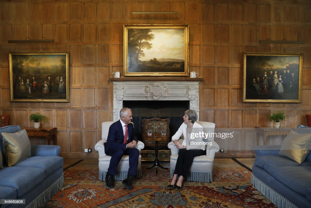 U.K. Prime Minister Theresa May Hosts Australia's Prime Minister Malcolm Turnbull At Her Chequers Country Residence