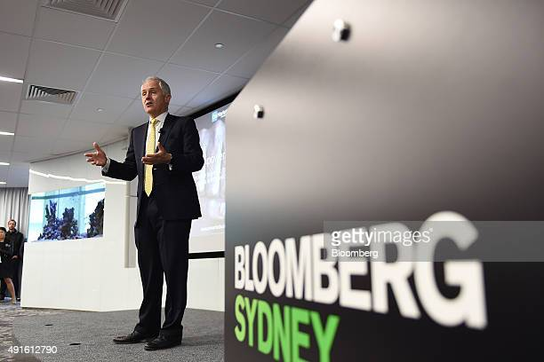 Malcolm Turnbull Australia's prime minister speaks during the launch of the OnMarket Bookbuilds app in Sydney Australia on Wednesday Oct 7 2015 There...