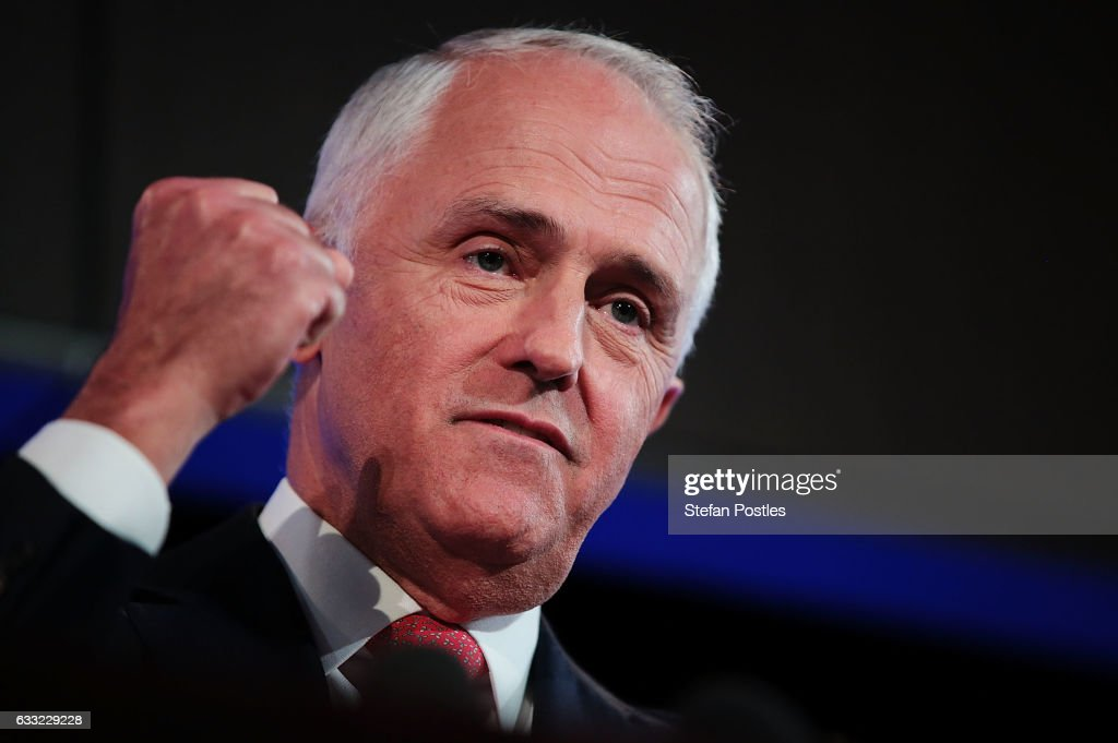 Malcolm Turnbull delivers his National Press Club address on February 1, 2017 in Canberra, Australia. Prime Minister Turnbull will lay out his 2017 plans as pressure mounts on the Liberal Government over to deliver job opportunities and security to the Australian public.