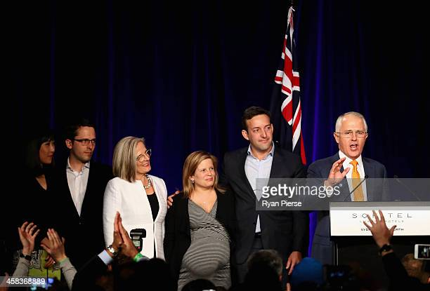 Malcolm Turnbull greets Liberal party supporters with wife Lucy Turnbull son Alex Turnbull his wife Yvonne Wang daughter Daisy Turnbull Brown her...