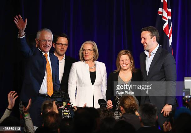 Malcolm Turnbull greets Liberal party supporters with wife Lucy Turnbull son Alex Turnbull daughter Daisy Turnbull Brown her husband James Brown at...