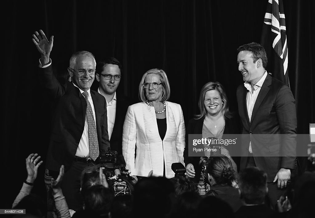 This image was processed using digital filters) Malcolm Turnbull greets Liberal party supporters with wife Lucy Turnbull , son Alex Turnbull, daughter Daisy Turnbull Brown her husband James Brown at Sofitel Wentworth on July 2, 2016 in Sydney, Australia. With results too close to call after a marathon eight-week campaign, no outright winner was able to be announced.