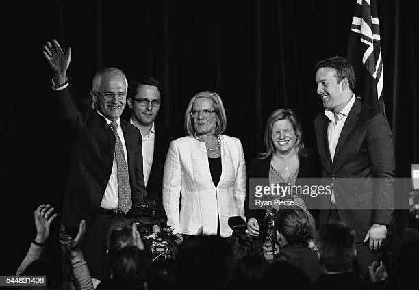 This image was processed using digital filters Malcolm Turnbull greets Liberal party supporters with wife Lucy Turnbull son Alex Turnbull daughter...