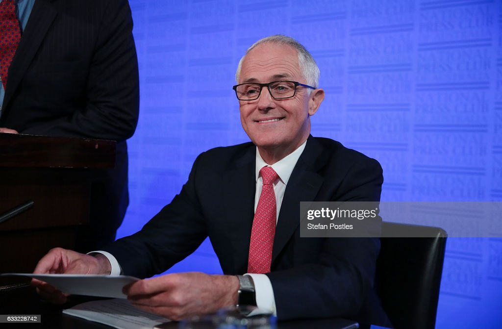 Malcolm Turnbull prepares to deliver his National Press Club address on February 1, 2017 in Canberra, Australia. Prime Minister Turnbull will lay out his 2017 plans as pressure mounts on the Liberal Government over to deliver job opportunities and security to the Australian public.