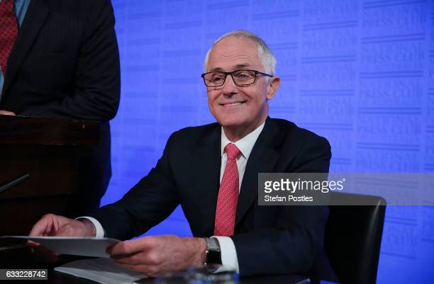 Malcolm Turnbull prepares to deliver his National Press Club address on February 1 2017 in Canberra Australia Prime Minister Turnbull will lay out...
