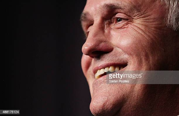 Malcolm Turnbull speaks to the media after winning the leadership ballot at Parliament House on September 14 2015 in Canberra Australia Malcolm...