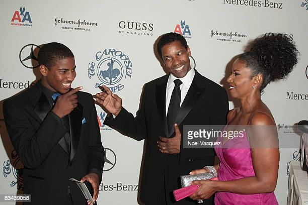 Malcolm Washington, Denzel Washington and Pauletta Washington attend the VIP Reception of The 30th Anniversary Carousel Of Hope Ball at The Beverly...