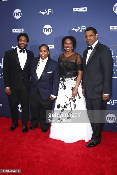 Malcolm Washington, Katia Washington, Pauletta Washington, and Denzel Washington attend the American Film Institute's 47th Life Achievement Award...