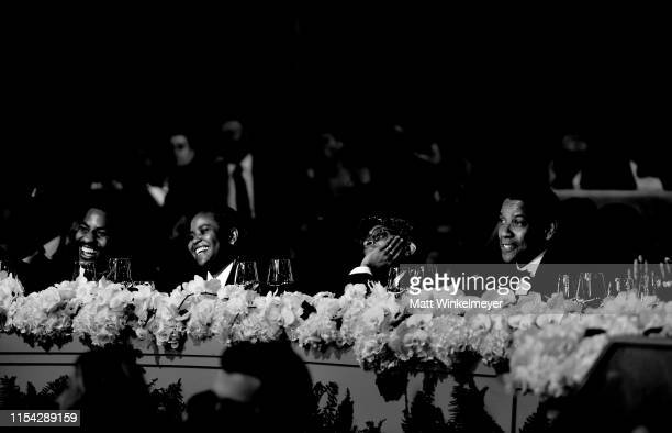 Malcolm Washington, Katia Washington, Spike Lee, and Denzel Washington attend the 47th AFI Life Achievement Award honoring Denzel Washington at Dolby...