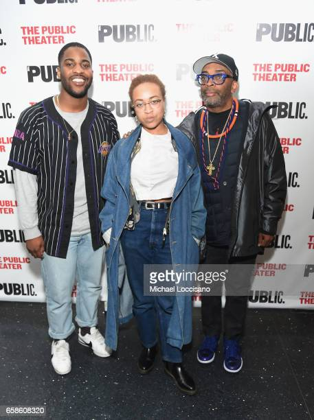 "Malcolm Washington, Satchel Lee, and father, filmmaker Spike Lee attend the ""Latin History For Morons"" opening night celebration at The Public..."