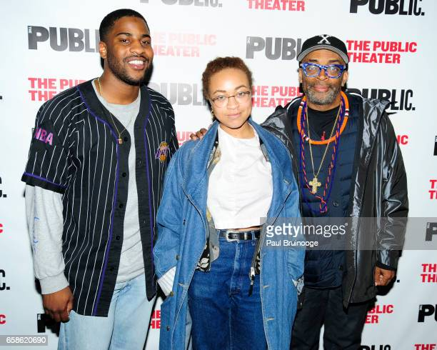 Malcolm Washington Satchel Lee and Spike Lee attend the Latin History For Morons Opening Night Celebration at The Public Theater on March 27 2017 in...