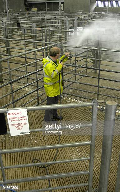 Malcolm Webster cleans empty animal pens at Bakewell market after an outbreak of foot-and-mouth in Surrey caused the cancellation of the market in...