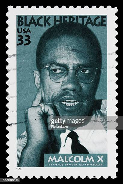 usa malcolm x postage stamp - black history in the us stock pictures, royalty-free photos & images