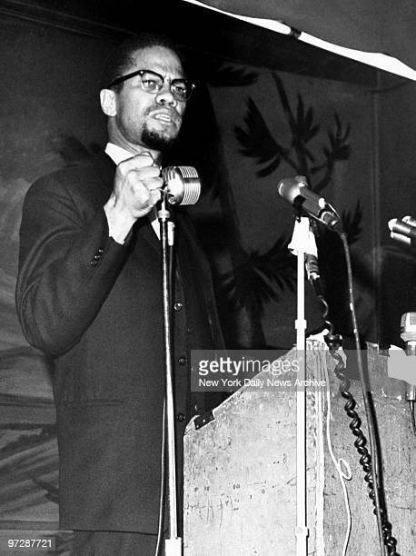 Malcolm X speaks at the Audubon Ballroom in Harlem on Feb 15 1965 Six days later on Feb 21 he was shot to death as he was about to speak in the same...