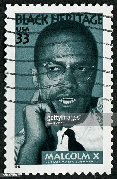 malcolm x stamp - black civil rights stock pictures, royalty-free photos & images