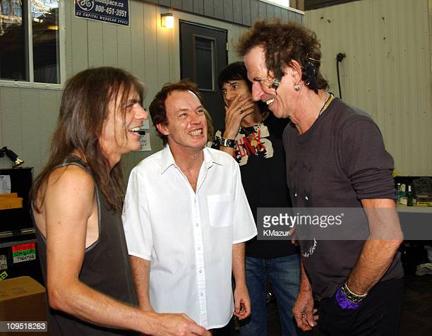 Malcolm Young and Angus Young of AC/DC with Keith Richards of The Rolling Stones