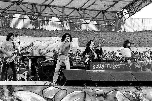 Malcolm Young, Bon Scott, Angus Young and Phil Rudd are performing with 'AC/DC' at the Oakland Coliseum in Oakland, California on August 21, 1979....