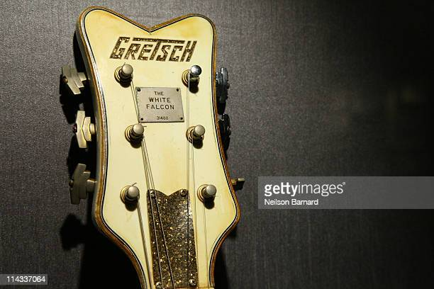 Malcolm Young of AC/DC's 1959 Gretsch White Falcon guitar is shown on display at Hard Rock Cafe's 40th anniversary Memorabilia Tour at Hard Rock Cafe...
