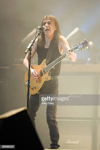 Malcolm Young of the Australian rock band AC/DC performs in concert on their 'Black Ice World Tour' at the Conseco Fieldhouse on November 3 2008 in...