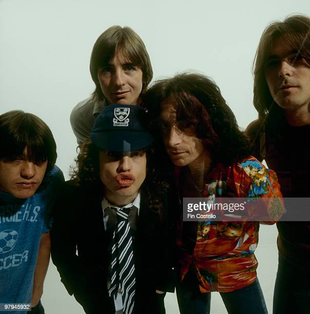 Malcolm Young Phil Rudd Angus Young Bon Scott and Cliff Williams of Australian rock band AC/DC pose in Camden London in August 1979