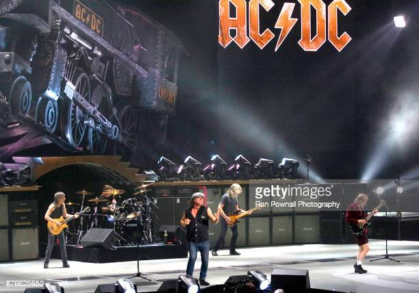 Malcolm Young Phil Rudd Brian Johnson Cliff Williams Angus Young perform at the TD Boston Garden November 9 2008