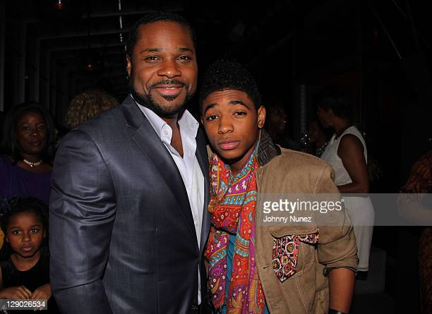 MalcolmJamal Warner and Nadji Jeter attend the Reed Between The Lines VIP screening at Bar Basque on October 10 2011 in New York City