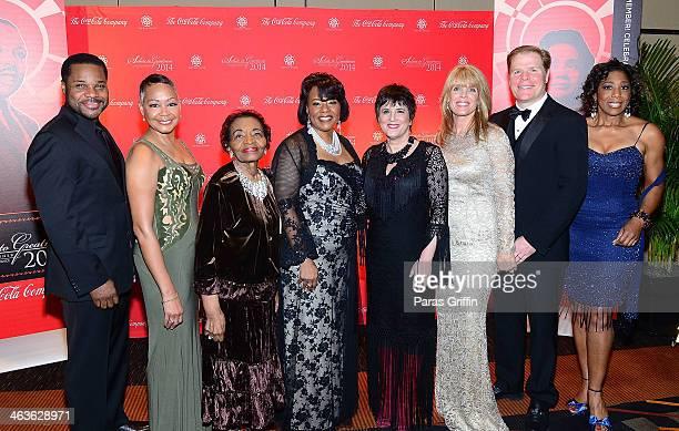 MalcolmJamal Warner Lisa Borders Christine King Farris Bernice King Eve Ensler Laura Turner Seydel Rutherford Seydel and Dawnn Lewis attend the 2014...