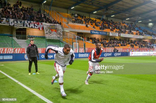 Malcom and Maxime Poundje of Bordeaux during the Ligue 1 match between Troyes and Bordeaux on January 13 2018 in Troyes France