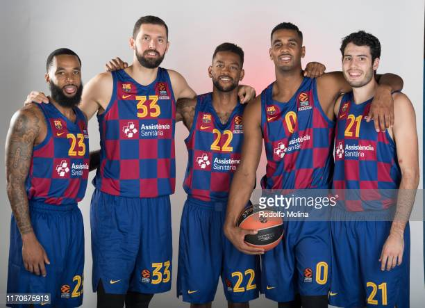 Malcom Delaney, #23; Nikola Mirotic, #33; Cory Higgins, #22; Brandon Davies, #0 and Alex Abrines, #21 poses during the 2019/2020 Turkish Airlines...