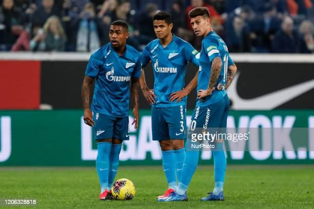 Malcom, Douglas Santos and Emiliano Rigoni of Zenit Saint Petersburg during the Russian Premier League match between FC Zenit Saint Petersburg and FC...
