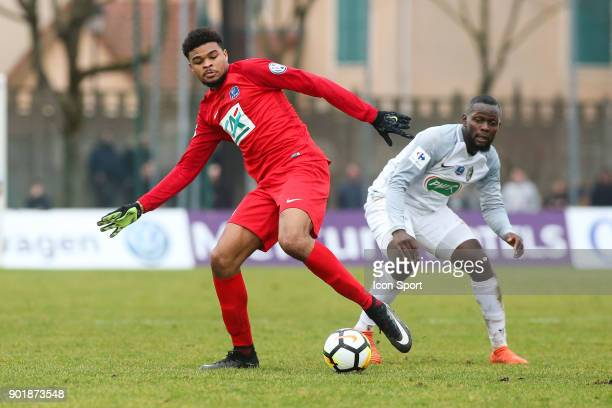 Malcom Edjouma of Concarneau during the french National Cup match between Houilles and Concarneau on January 6 2018 in Houilles France