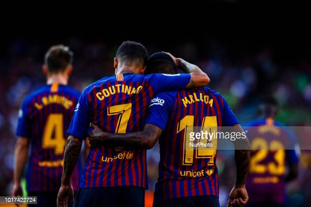 Malcom Filipe from Brasil celebrating his goal with Philippe Coutinho from Brasil during the Joan Gamper trophy game between FC Barcelona and CA Boca...